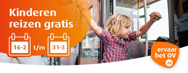 Kinderen reizen gratis van 16-2 t/m 31-3